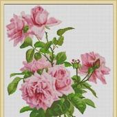 """Схема для вышивки крестом """"Веточки розовых роз"""""""