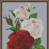 """Схема для вышивки крестом """"Белые и красные розы"""""""