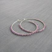 "Серьги-кольца ""Lilac"" (45 мм) из серебра и аметиста"