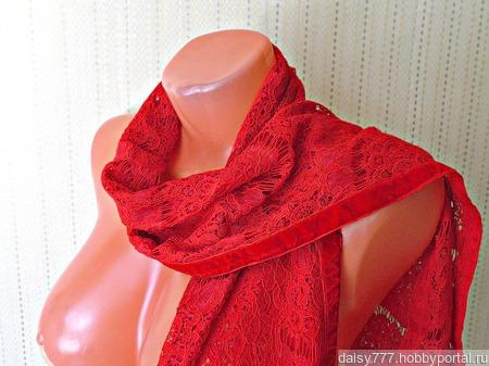 Красный кружевной палантин ручной работы Алая заря модель 1 ручной работы на заказ