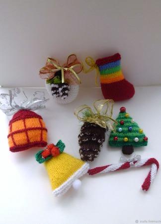 Вязаные новогодние елочные игрушки ручной работы на заказ