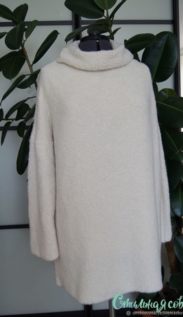 """Кашемировый свитер оверсайз """"Белая медведица"""" ручной работы на заказ"""
