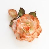 Брошь роза оранжевая рыжая белая