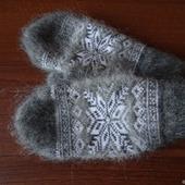 """Тёплые варежки-рукавички вязаные """"Снежинка"""""""