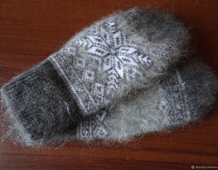 """Тёплые варежки-рукавички вязаные """"Снежинка"""" ручной работы на заказ"""