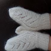 Варежки-рукавички пуховые вязаные