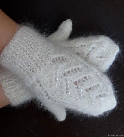 Варежки-рукавички пуховые вязаные ручной работы на заказ