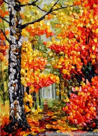 "Картина вышитая ""Яркая осень"" ручной работы на заказ"