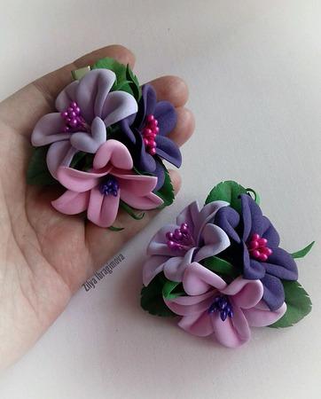 Заколка с лилиями 3 в 1. ручной работы на заказ