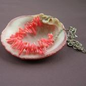 "Колье ""Coral roses"" из кораллов на серебряной цепочке"