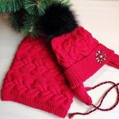 Комплект: шапка и снуд зимний, красный