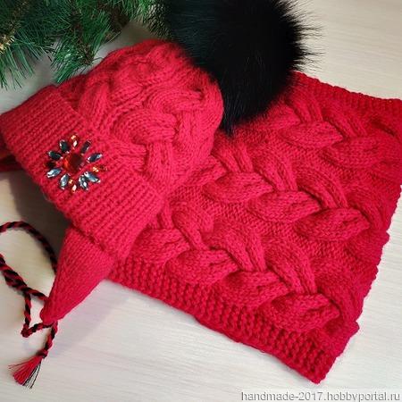 Комплект: шапка и снуд зимний, красный ручной работы на заказ