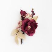 Брошь с цветами бордовая ванильная кремовая