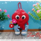 Сердечный Валентин - вязанная игрушка