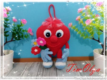 Сердечный Валентин - вязаная игрушка ручной работы на заказ