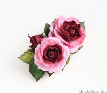 Заколка с розами розово-бордовая ручной работы на заказ