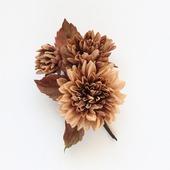 """Брошь светло-коричневые цветы из хлопка """"Тихая осень"""""""
