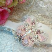 Брошь-бабочка Розалинда из жемчуга и Сваровски