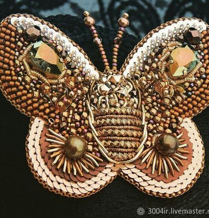 """Брошь-бабочка """"Golden Butterfly"""" ручной работы на заказ"""
