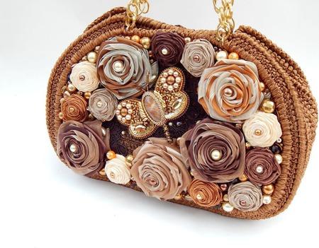 """Сумка """"Медовая Осень"""" с брошью-бабочкой из атласных лент ручной работы на заказ"""