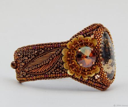 Браслет Золотые цветы с яшмой и Сваровски ручной работы на заказ