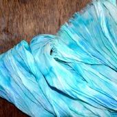 Голубой шарф длинный льняной