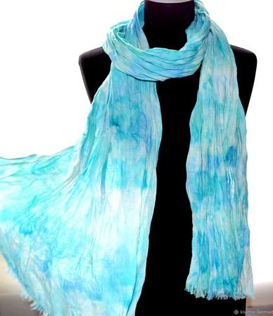 Голубой шарф длинный льняной ручной работы на заказ