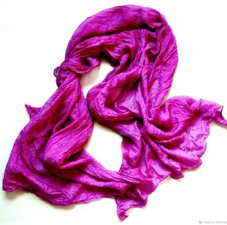 6bf9b98e732b Шарф шелковый яркий цвет фуксия – купить в интернет-магазине ...