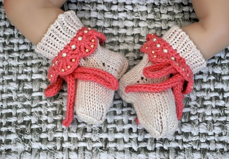 Носочки для новорожденного вязаные полушерстяные ручной работы на заказ