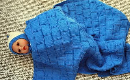 Детский шерстяной вязаный плед ручной работы на заказ