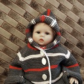Вязаный детский шерстяной комплект