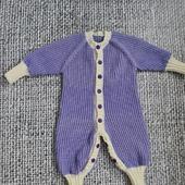 """Вязаный шерстяной комбинезон для малыша """"Букле"""" сиреневый"""