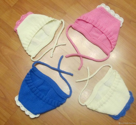 Шерстяная шапочка-чепчик для новорожденного ручной работы на заказ