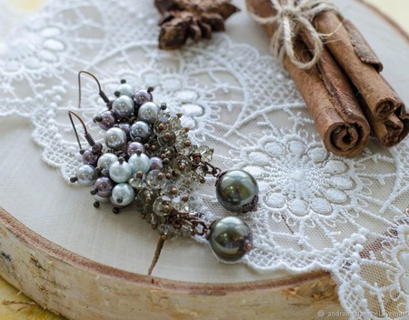 """Серьги с жемчугом """"Серебряные грозди"""" ручной работы на заказ"""