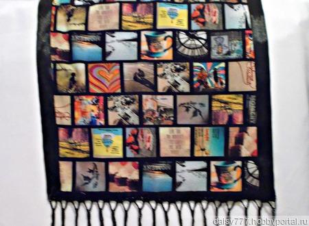 """Черный палантин ручной работы из ткани """"Счастливые моменты"""" ручной работы на заказ"""