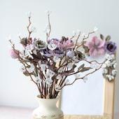 Букет в вазочке и рамочка с цветами Кофейный