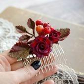 """Гребень с цветами """"Калина и роза"""""""