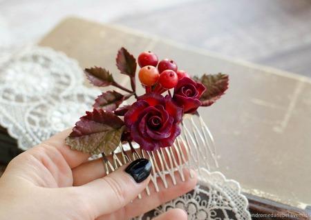 """Гребень с цветами """"Калина и роза"""" ручной работы на заказ"""