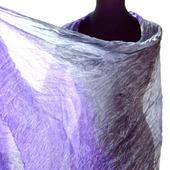 Шарф сиренево-серый натуральный шёлк