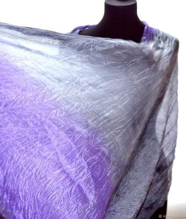 Шарф сиренево-серый натуральный шёлк ручной работы на заказ