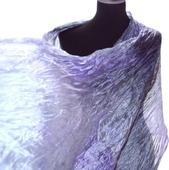 Шарф светлый серый сиреневый натуральный шёлк