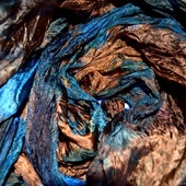 Батик шарф сине оранжево коричневый