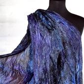 Шарф шёлковый черно сине фиолетовый, длинный женский шарф палантин