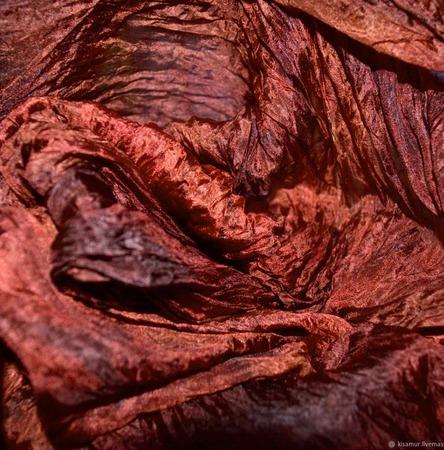 Шарф  палантин красно коричневый шелковый подарок женщине ручной работы на заказ