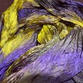 Шарф женский шелковый желто-фиолетовый