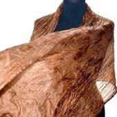 Коричневый женский шелковый шарф