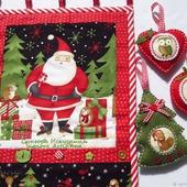 Новогоднее текстильное панно с игрушками Дед мороз с друзьями
