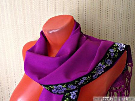 """Фиолетовый палантин ручной работы из ткани """"Нежная фуксия"""" модель 1 ручной работы на заказ"""