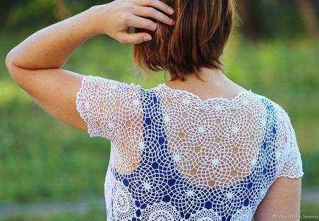 Платье белое ажурное ручной работы на заказ
