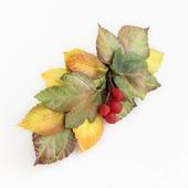 Заколка с осенними листьями и ягодами (3)